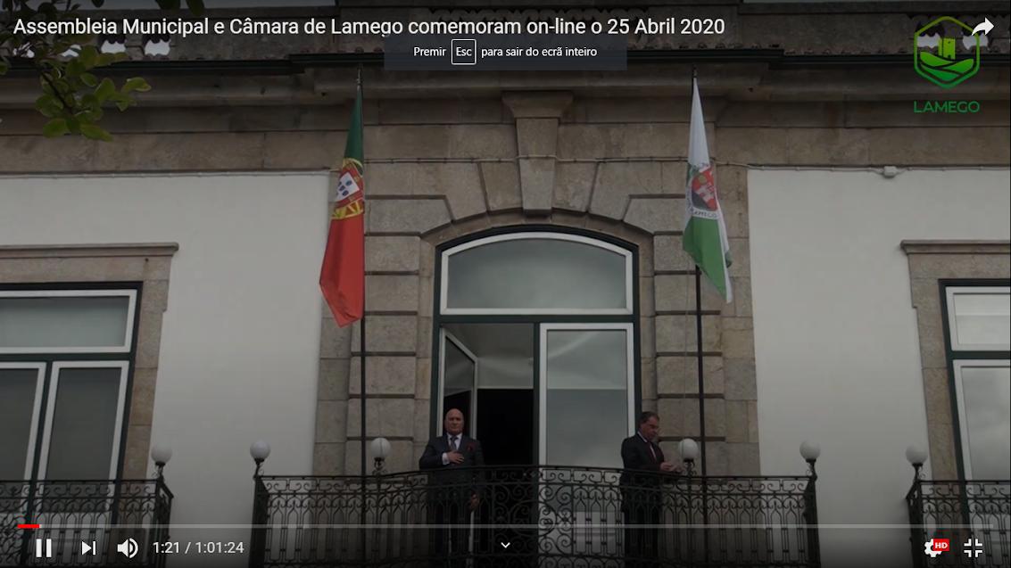 Vídeo - Assembleia Municipal e Câmara de Lamego comemoram on-line o 25 Abril 2020