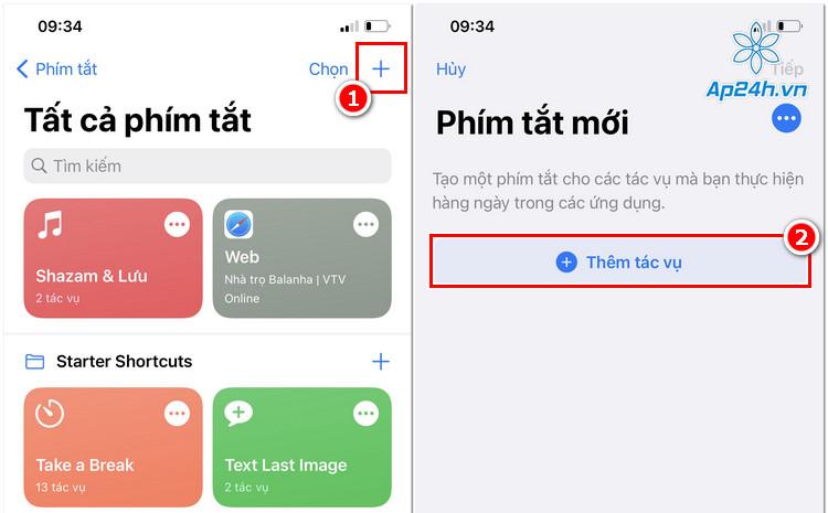 Tạo tác vụ tạo ảnh GIF trên Shortcuts