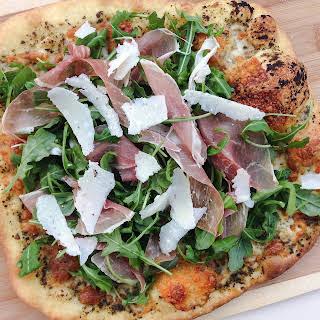 Pesto Prosciutto Arugula Pizza.