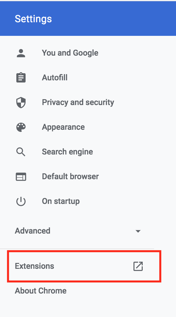image of settings menu