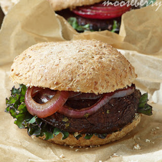 Portobello Burgers with Roasted Onions