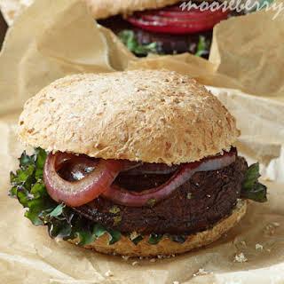 Portobello Burgers with Roasted Onions.