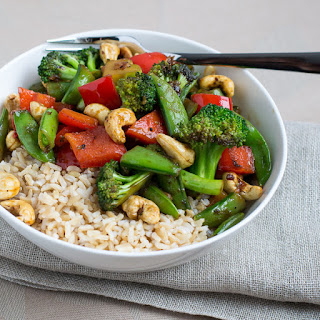 Vegetable & Cashew Stir Fry with Brown Rice Recipe