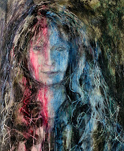 """Photo: Woman in Red and Blue, 21cm x 29cm, 8"""" x 11.5"""", 2012, Moleskine folio Sketchbook, mixed media.  Not to labour the point, but I fiddled a bit and cropped. The scanner, while enabling a high resolution/good colour image, misses texture. One day I'll get a decent camera to take these paintings - this one is scored with lines from toothpicks, dental tools, knitting needles, and different media - pens, inks, paints, rubbings and scratchings... I didn't like the initial sketch (self portrait from a mirror image) and was too impatient to work on it so I thought I'd see how the figure could emerge through washes of black paint, and then all the other media I used, inks, acrylics, oils, from fountain pen inks, dip pens, ball point pens and brushes and cloths. Often I spray fixatives between layers too, so there's a few of those. A figure does emerge, and there's a welter of emotion in that worked surface."""
