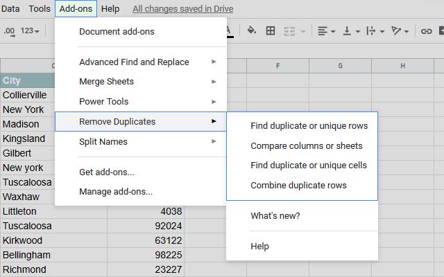 Remove Duplicates - Google Sheets add-on