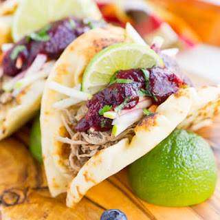 Pulled Pork Tacos and Blueberry Barbecue Sauce.
