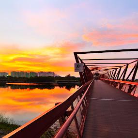 Vanishing Point by Ram Suson - Buildings & Architecture Bridges & Suspended Structures ( sunset, singapore bridge, lor halus, bridge, punggol promenade, singapore )