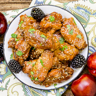 Slow Cooker Chicken Wings with Blackberry Plum Glaze
