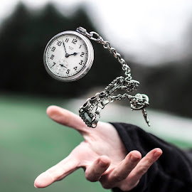 Time Flies Again by Kyle Re - Artistic Objects Other Objects ( levitation, creative, kylerecreative, clock, fine art, time piece, hand, time, stopwatch, fineart, color, artistic, levitate, toss, time flies )