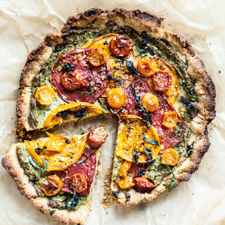 Heirloom Tomato Pie With Almond Flour Crust + Creamy Cashew Herb Filling.