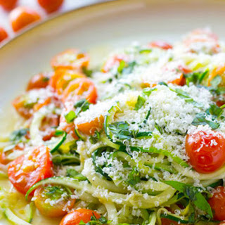 Parmesan Zucchini Noodles with Cherry Tomatoes Recipe
