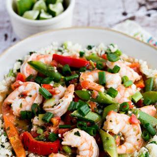Easy Spicy Coconut Milk Shrimp over Cauliflower Rice (or Rice)