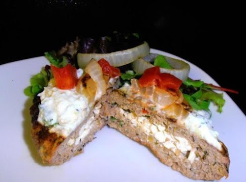 """Low Fat/Low Carb Greek Stuffed Burger """"This is my healthy version of..."""