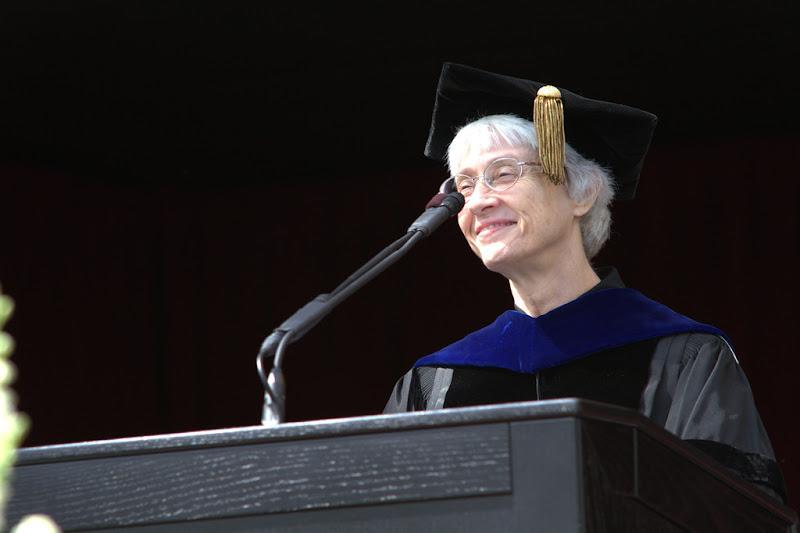 Photo: Vice provost Patricia Pike addresses the graduates