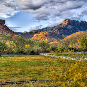 Near Zion by Paul Cushing - Landscapes Mountains & Hills ( field, pasture, horse, canyon, zion )