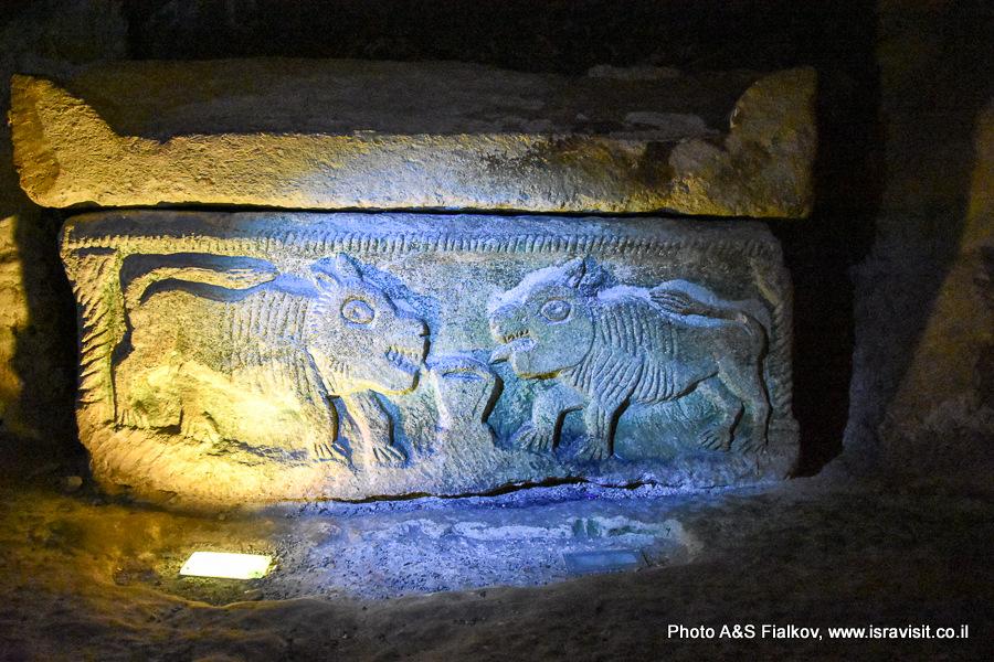 Саркофаг с барельефом львов. Национальный парк Бейт Шеарим. Экскурсия гида по Израилю Светланы Фиалковой.