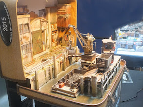 Photo: 116 A close up of Thomas Schmid's La Valise, featuring a wharf, a pier, a crane and stone being loaded into a barge, all in 1:22 scale and all in a small suitcase. Fascinating! .