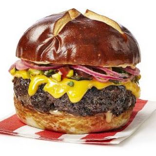 Brat Burgers with Stout Aioli and Corn Relish.