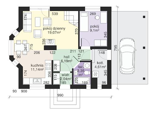 Dom przy Imbirowej 2 - Rzut parteru