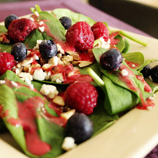 Summer Spinach Salad with Raspberry Vinaigrette Dressing.