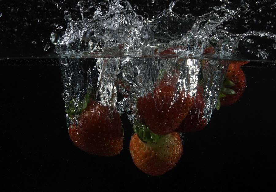 Strawberries by Rajesh Loganathan - Food & Drink Fruits & Vegetables ( water, fruit, strawberry splash, red, splash, drop, bubbles, pink, strawberry )