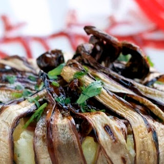 Radicchio and Potato Timballo With Warm Apple and Gorgonzola Sauce