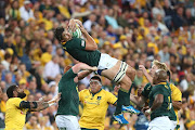 Eben Etzebeth of the Springboks takes the lineout during The Rugby Championship match between the Australian Wallabies and the South Africa Springboks at Suncorp Stadium on September 8, 2018 in Brisbane, Australia.