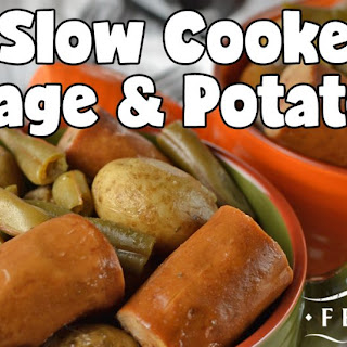 Easy Slow Cooker Sausage & Potatoes.