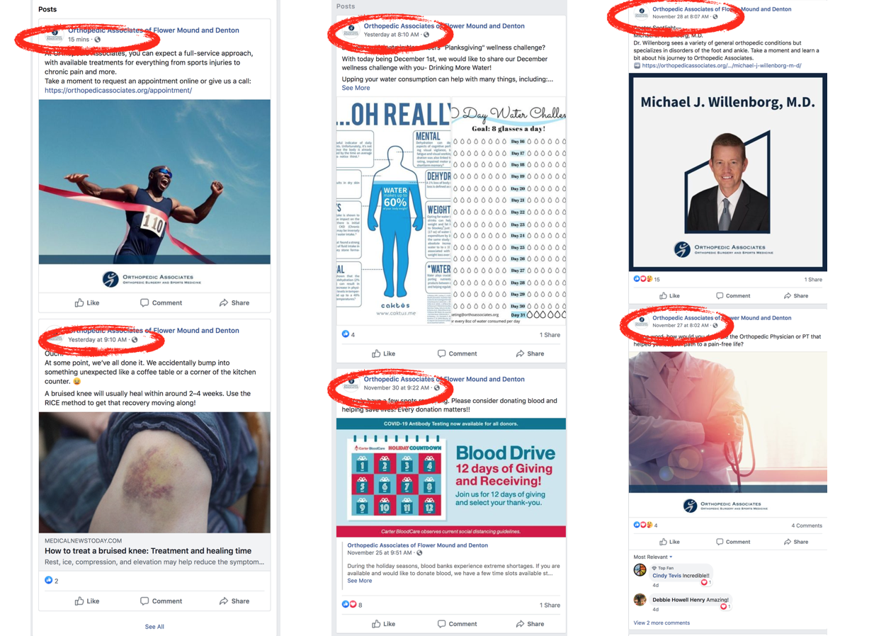 Example of regular Facebook posting by an orthopedic surgeon