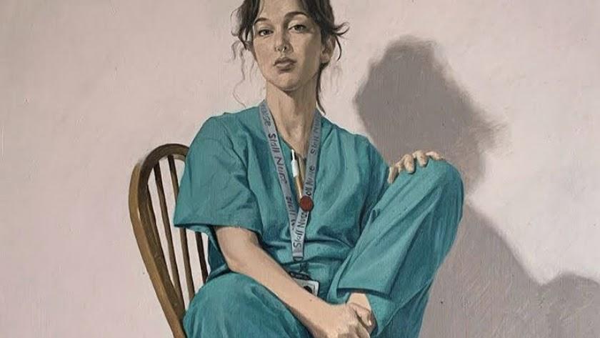Patricia Ballesta, en la pintura homenaje a los sanitarios.