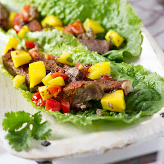Slow Cooker Chili Lime Beef Tacos With Mango Salsa.