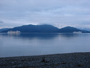 Photo: July 16 - Two cruise ships pass my campsite early in the morning.