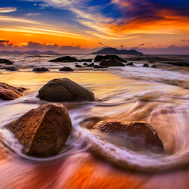 Gold light on Rock beach by Dany Fachry - Landscapes Beaches (  )