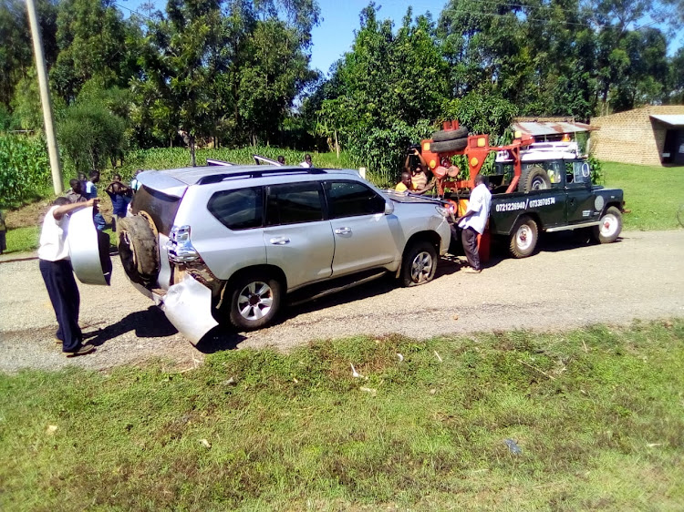 The car belonging to Ugandan High Commissioner to Kenya Phibby Otaala after the road accident at Kimwanga area along the Eldoret-Malaba Highway.
