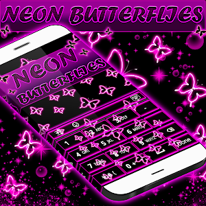 Neon Butterflies Keyboard screenshot 3
