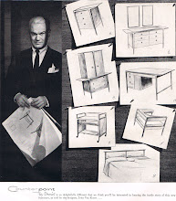 Photo: The designer of Drexel Furniture's new for 1956 Counterpoint collection, John Van Koert, and some of his sketches. He looks a little scary.  I found more about the designer : http://mid2mod.blogspot.com/2010/09/john-van-koert.html