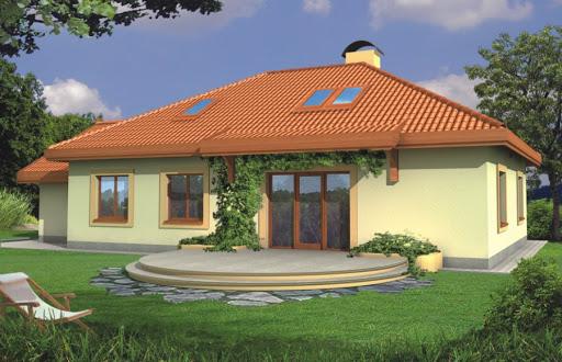 projekt Sielanka 30 st. wersja B dach 4-spadowy z pojedynczym garażem