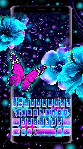Neon Flower Butterfly Keyboard Theme screenshots 1