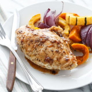 Cider-Glazed Chicken Breasts with Fall Vegetables.