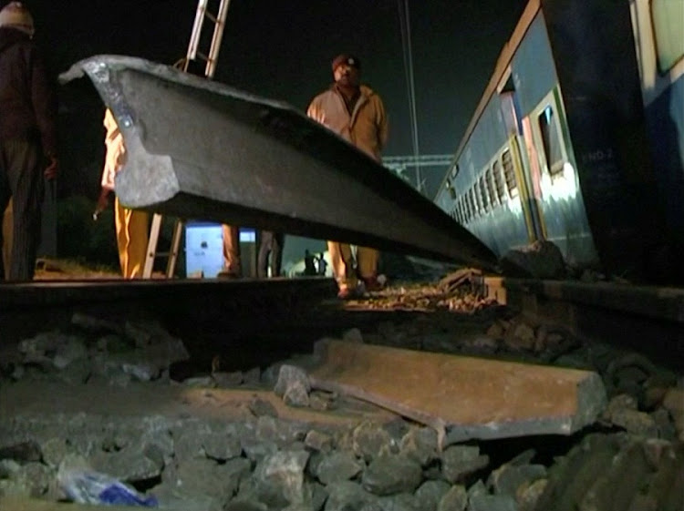 A portion of broken railway track is seen after coaches of a Hirakhand express train from Jagdalpur to Bhubaneswar derailed near Kuneri station, in the state of Andhra Pradesh, outside the town of Rayagada, India, in this still image from video January 22, 2017. Picture: ANI via REUTERS