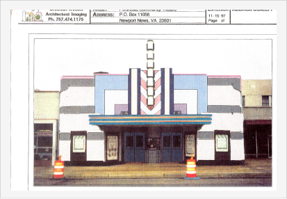 Photo: Creativity - One of several design concepts for Historic Hilton Village Theater in Newport News, Va.  Art Deco era color groups were imaged and previewed on PC and printed before application in previous slide.  Green color group blended more to existing area then one above.