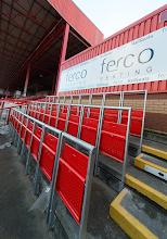 Photo: Demonstration block of rail seats at Ashton Gate, 2014 (since removed to make way for new stand)