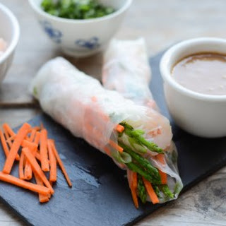 Shrimp Spring Rolls with Sweet and Spicy Peanut Dipping Sauce.