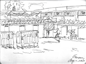 Photo: 隔離舍2010.08.12鋼筆畫 突然手癢了起來… 日繪一景,或許是不錯的嚐試。 畫中跑步的人是當年的槍擊要犯穿山甲…