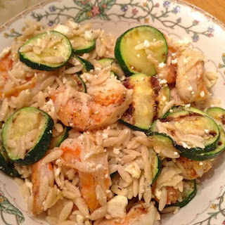 Greek Shrimp with Zucchini, Orzo and Feta