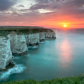 White Cliffs of Flamborough by Phil Green - Landscapes Waterscapes ( cliffs, seascape, flamborough head, sunset, east yorkshire )