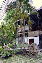 """Photo: 4- Notre hôtel """"Les Mystères d'Angkor"""" (nom tiré d'un film) tenu par des Français, est calme et agréable. N'hésitez pas à y dîner, le restaurant est succulent."""