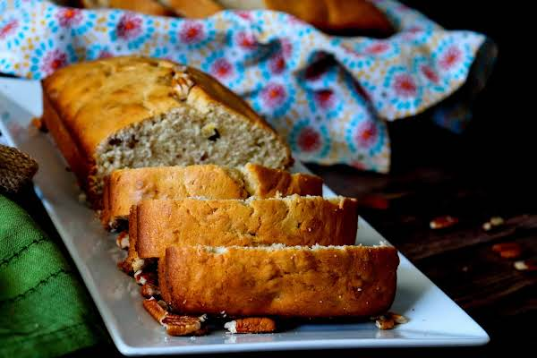 Sliced Southern Banana Bread On A Platter.