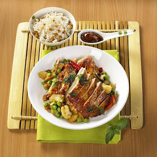 Five Spice Chicken with Peanut Rice and Vegetables.