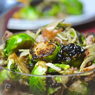 Fire Roasted Brussels Sprouts with Fennel and Prosciutto.